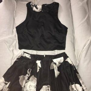 Sequin Hearts Brand Black Floral Print Set